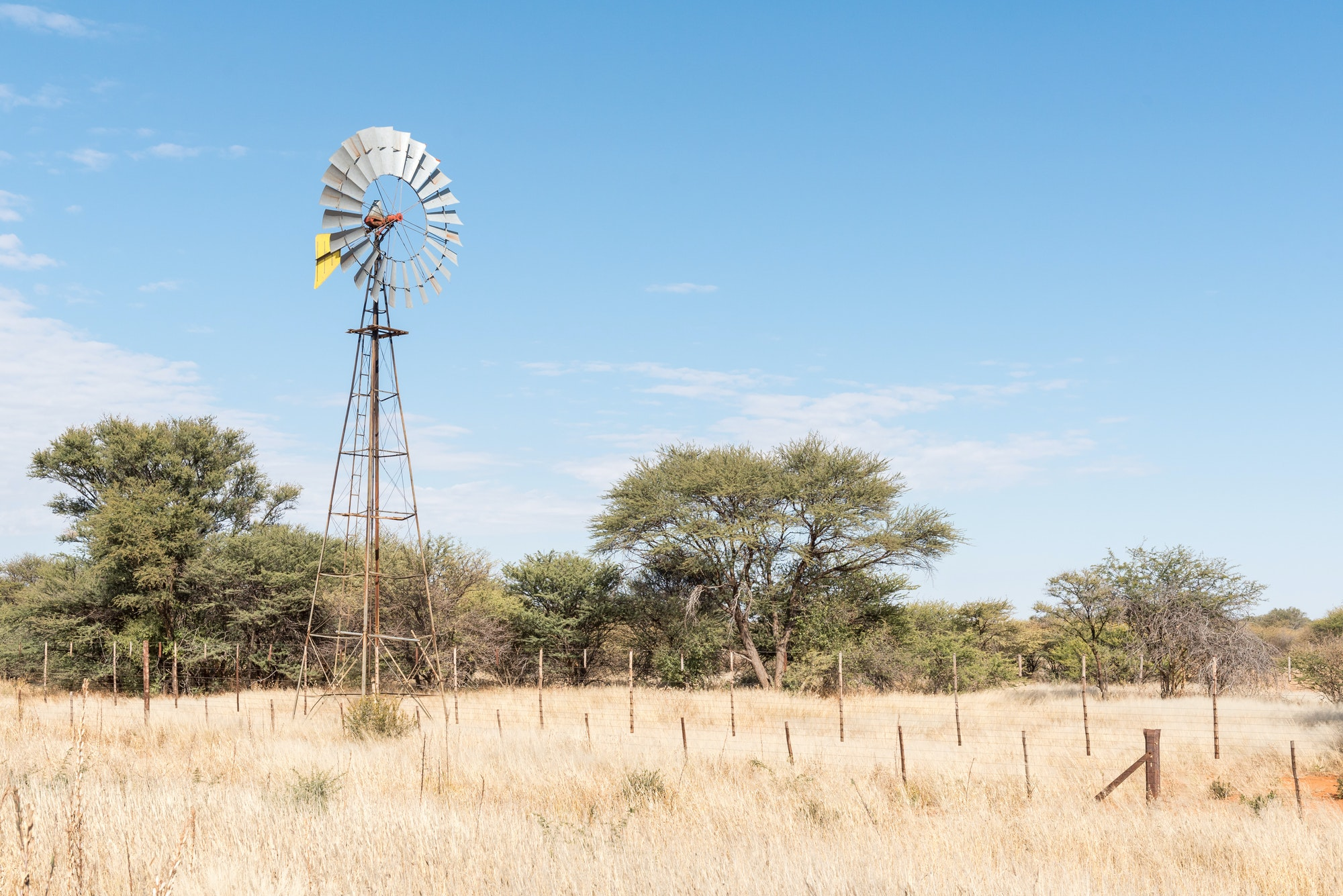 Farm scene with water-pumping windmill on the B1-road